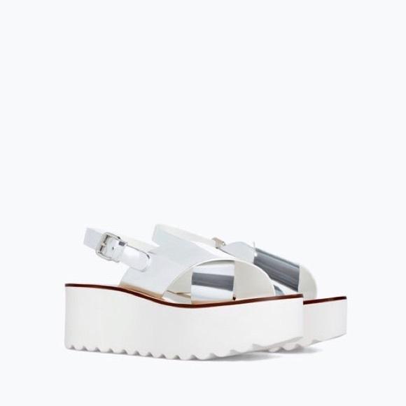 a67c0cbda8fd ZARA Woman Silver Platform Thick Strap Sandals