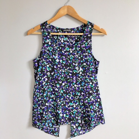Express Tops - Floral Print Split Back Tank