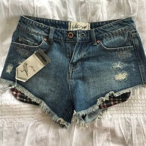 White Crow Pants - NWT Cheeky Denim shorts with flannel pockets
