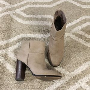 Aldo taupe stack heel ankle booties