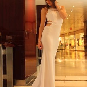 Cocktail white maxi dress