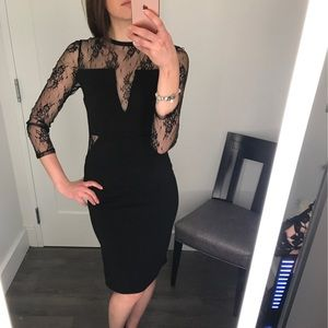 Black lace insert cocktail dress