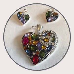 Jeweled Heart Pendant Set