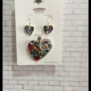 ICON Fashions Jewelry - Jeweled Heart Pendant Set