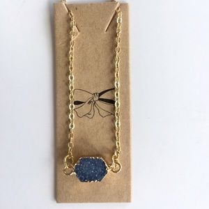 Gold Necklace with Blue Druzy Stone