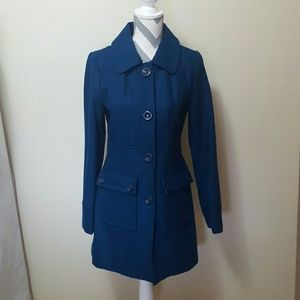 Tulle Jackets & Blazers - Tulle Royal Blue Button Pea Coat Trench Jacket