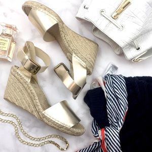 Soludos Gold Leather Wedge Espadrilles