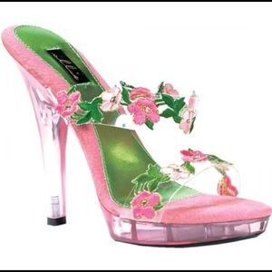 Ellie Shoes - Platform Heels w/Pink Tulip Appliqués & Clear Heel