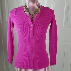 J. Crew Tops - Fuchsia Pink Waffle Knit Thermal Tee