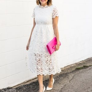 White Chicwish crochet midi dress