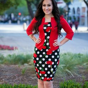 Dresses & Skirts - Women's Red Black Polka Dot Dress