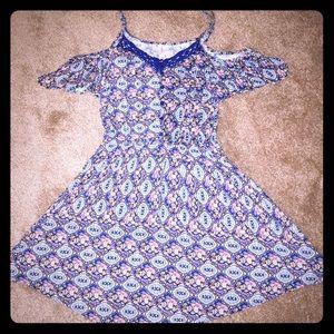 Exhilaration Dresses & Skirts - Off-the-Shoulder Printed Minidress