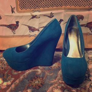 Teal suede Bamboo wedges