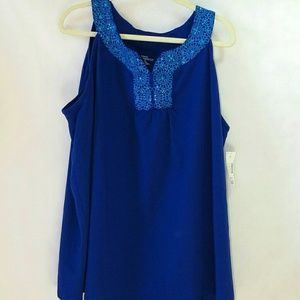 Blue embroidered and rhinestone tank top