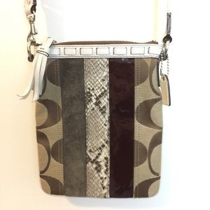 Coach Handbags - Coach White Brown Leather Snakeskin Crossbody Bag