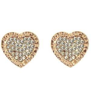 Michael Kors Jewelry - Gold Heart Shaped MK Designer Stud Earrings
