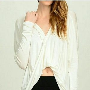 Bellino Clothing Tops - White Crossover top