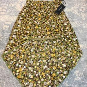 NWT For Love & Lemons Silk Yellow Dotted Skirt