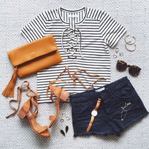 Madewell NWT lace up stripe tee