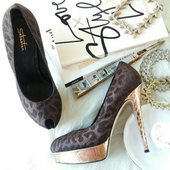 c3af23f6449 SEBASTIAN MILANO leopard print peep toe pumps