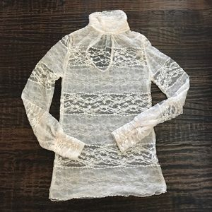 Lovely Day Tops - Lovely Day Cream High Neck Long Sleeve Lace Top