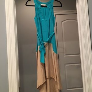 Presley Skye Dresses & Skirts - High low dress 100 percent silk tan and teal.