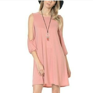 Bellino Clothing Dresses & Skirts - Dusty Rose Cutout dress