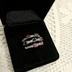 Silver Plated over Brass Ruby Sapphire Ring set