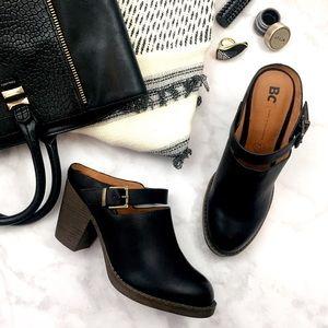 BC Footwear Shoes - Black Chunky Heel Mules
