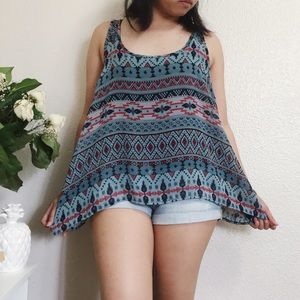 Tops - Tribal Blue Top