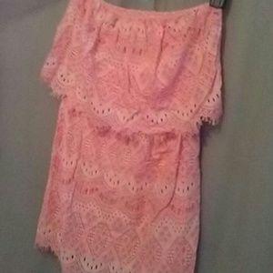 NWT Victoria's Secret peach lace strapless dress