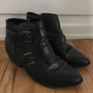 Joie Black Buckle Boots Bootie 37 6.5 7