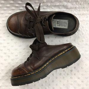Dr. Martens Shoes - Dr. Doc Martens 90's Brown Leather Clogs Mules