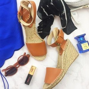 Soludos Shoes - Cognac Leather Espadrille Wedge Sandals