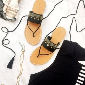 Soludos Shoes - Embroidered Leather space Up Tassel Sandals
