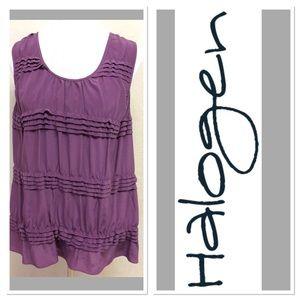 Halogen Tops - XL HALOGEN purple ruffled silk sleeveless top
