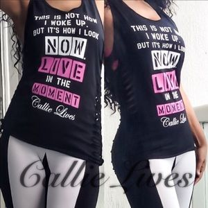 Callie Lives Tops - Black Graphic Tank How I Look Live Now Tee TShirt