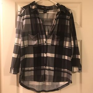 Polly & Esther Tops - Black and white flannel top