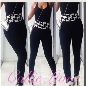 Callie Lives Pants - Black White Exxed Out High Waist Silky Leggings