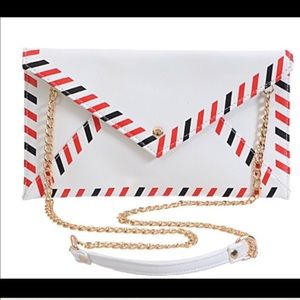 Callie Lives Handbags - White Red Blue Mail Envelope Clutch Hand Bag Chain