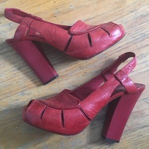 Chloe Shoes - SOLD! Chloe Red Leather Sling Heeled Sandal