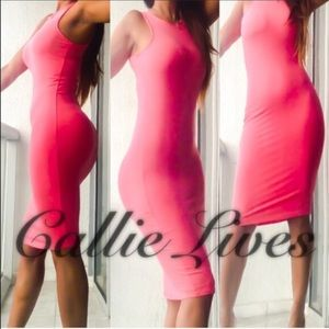 Callie Lives Dresses & Skirts - Coral Pink Spring Easter Sleeveless Midi Dress S
