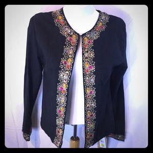 New Direction Sport Ladies Jacket Black Bejeweled