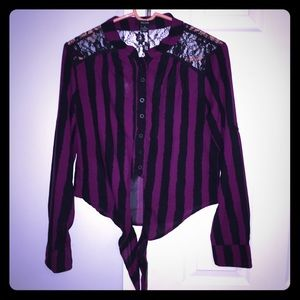 Purple and black striped shirt with lace
