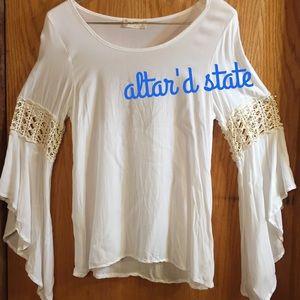 "Altar'd State Tops - Altar'd State ""Lucky Break"" Top white ivory boho M"