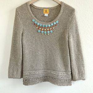 Ruby Rd Sweaters - Turquoise Beaded Sweater