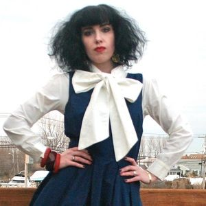 Tops - Gothic Lolita cream pin tuck bib bow tie blouse