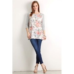 Tops - Plus Size Floral Baseball Tunic