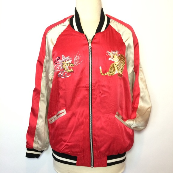 7f4f23eba Japanese embroidered red silk my bomber jacket NWT