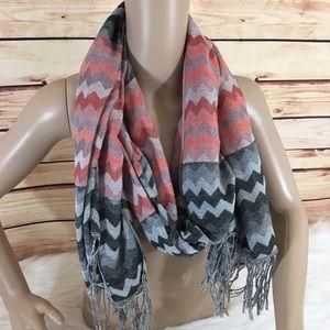 Chevron scarf with tassels (preloved)